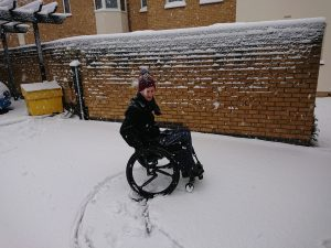 Wheelchair in snow
